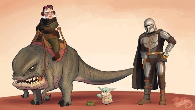 Star Wars April, Din Djarin, Grogu, And Kuiil