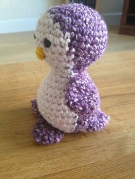 Purple Crochet Penguin Side