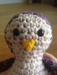 Purple Crochet Penguin Close Up