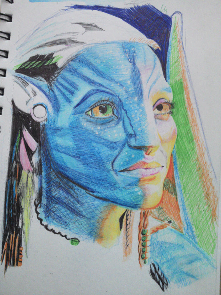 neytiri pen and watercolor pencils portrait by obiobi8 on ...
