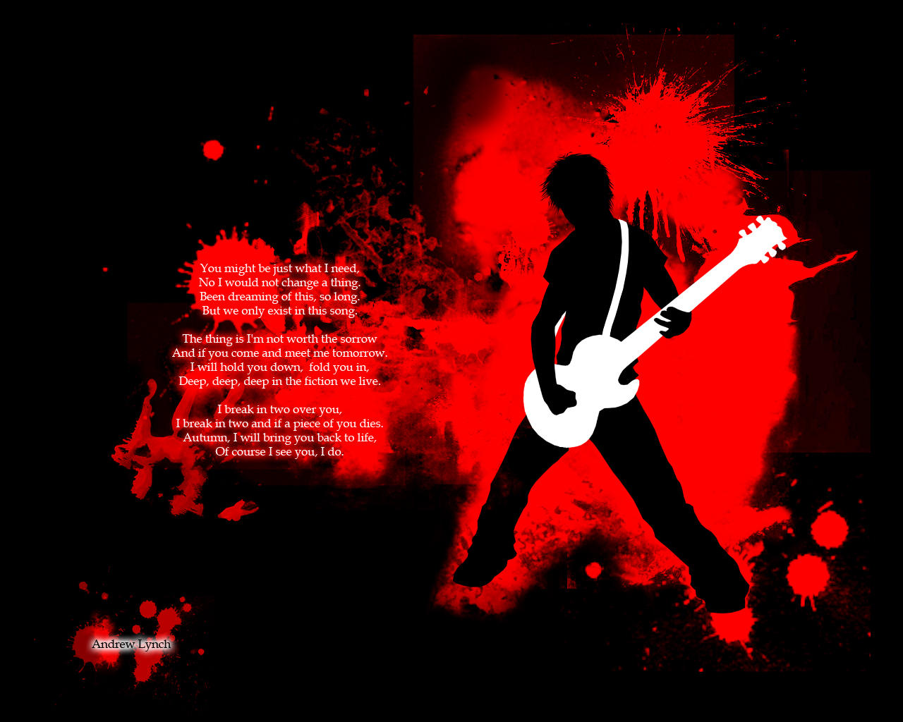 The wallpaper currently on ryuujin -  Rock Emo Kid Blood 1280x1024 By Xxryuujinxx