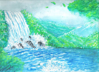 Watercolor- Waterfall by justinedarkchylde