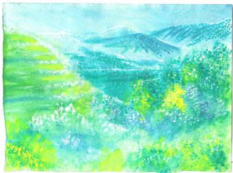 Watercolor- Beleriand AU by justinedarkchylde