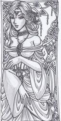 Art Nouveau Pencil Sketch by justinedarkchylde