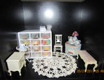 Cream and Roses Themed Dollhouse Room