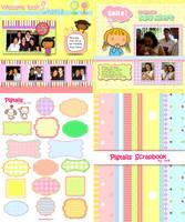 Pigtails Scrapbook Backgrounds by jazgirl