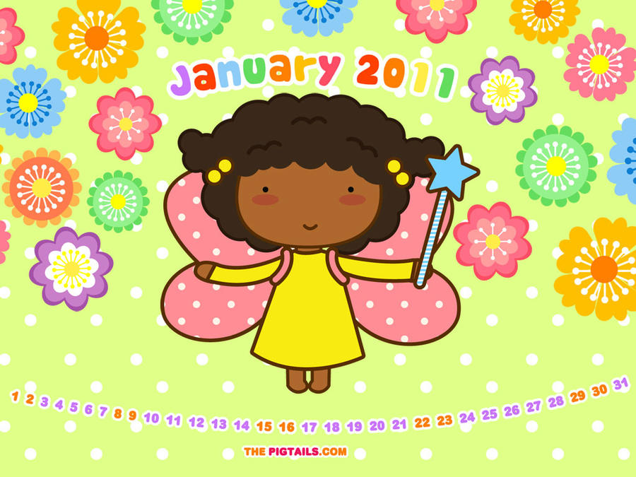 calendar january 2011. Pigtails Calendar January 2011