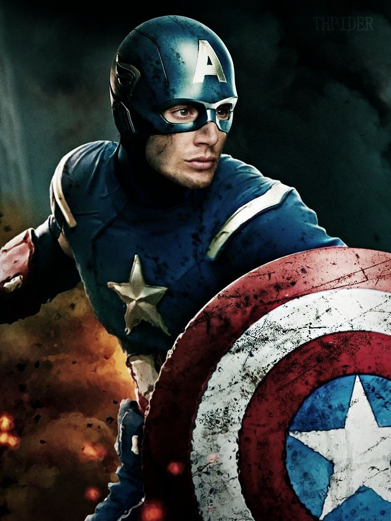Jensen Ackles as Capt. America by DanglingThpider