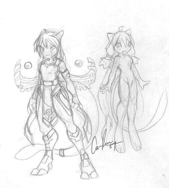 Pokemorphs - Mewtwo and Mew by nyausi