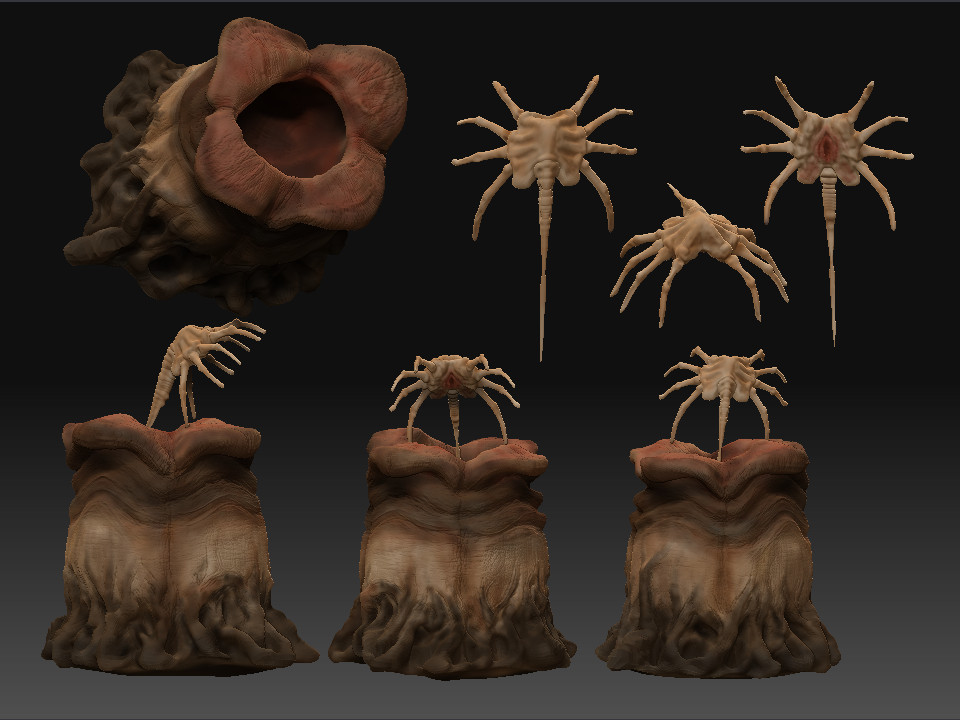 Aliens: Facehugger and egg pod by SilentIvo