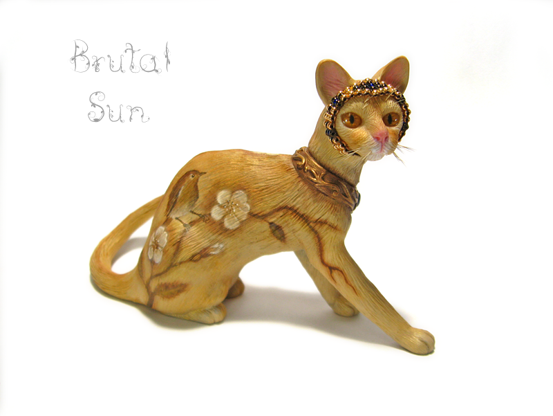 Eden, a polymer clay cat sculpture by brutalsunstudio