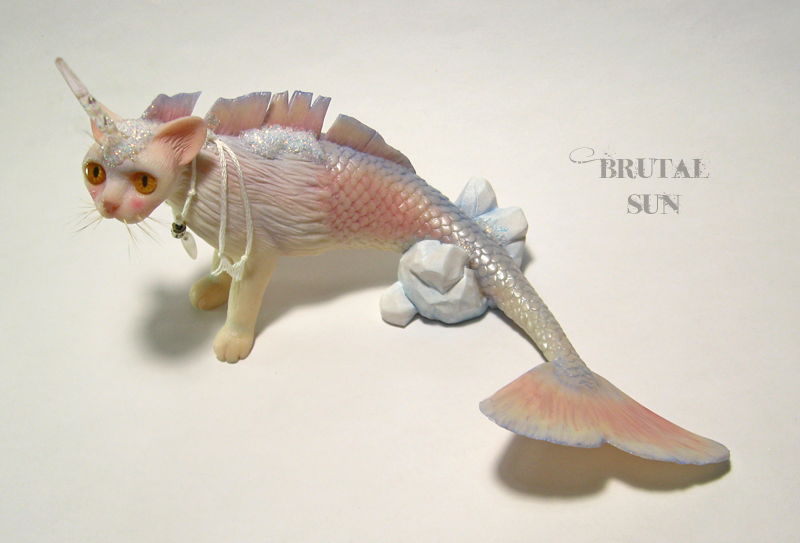 Crash, a unicorn mermaid cat sculpture by brutalsunstudio