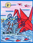 Red PaperCrane and Red Fish by ERWANLEGAL