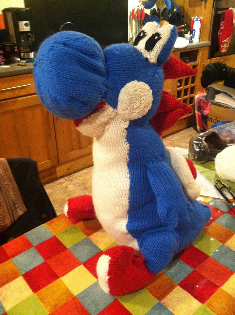 Knitting Pattern For Yoshi Toy : Knitted blue Yoshi plush by black-sax on deviantART