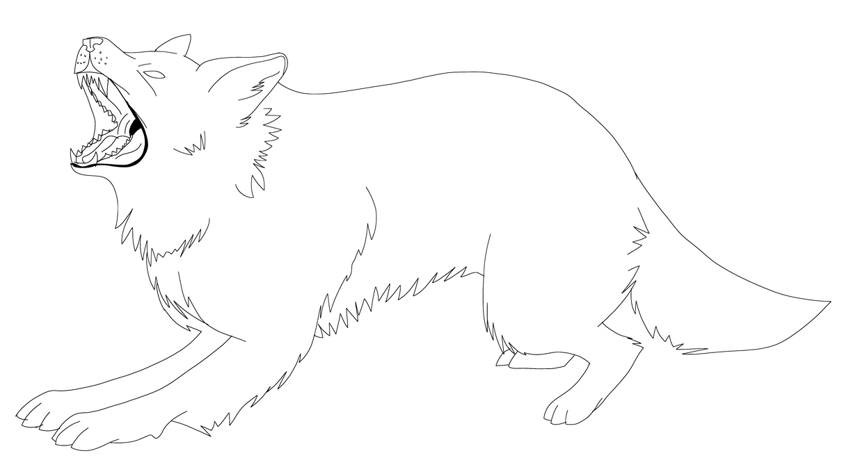 Wolf Outline Drawing D...