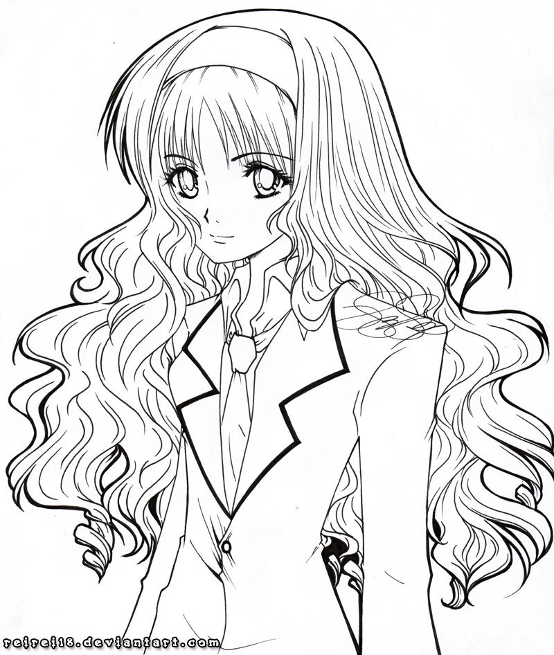 Coloring Pages Hair : Straight hair anime coloring pages