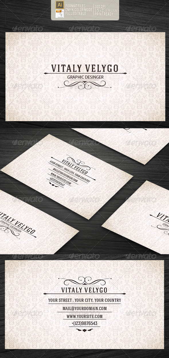 Vintage Style Business Card by vitalyvelygo on DeviantArt