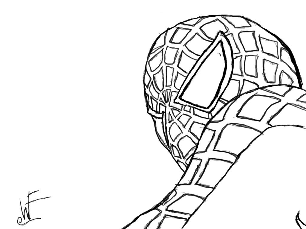 Spiderman Face Line Drawing : Spider man line drawing by blackdragonthebad on deviantart