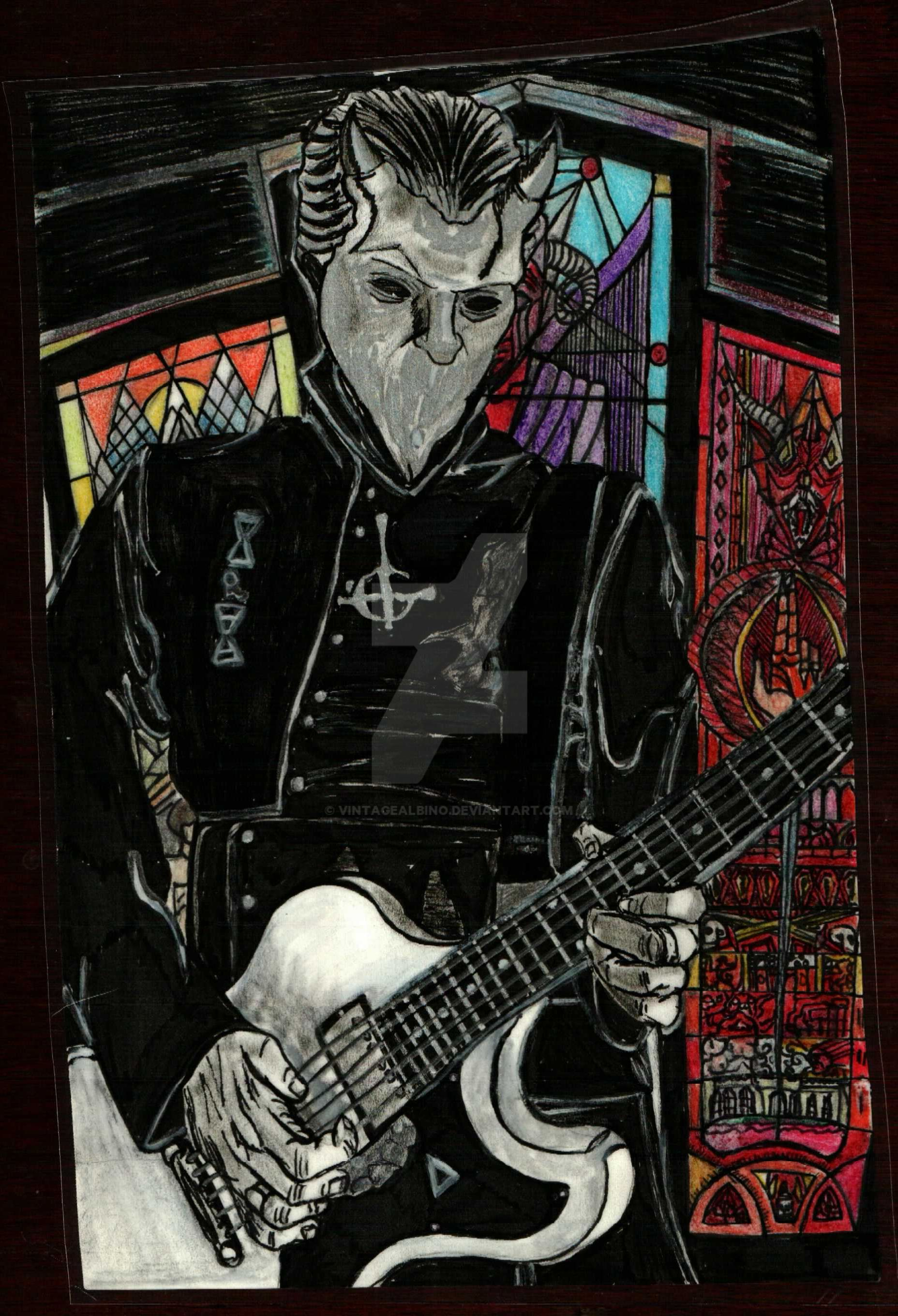 nameless ghoul. colour pencil - a nameless ghoul by vintagealbino