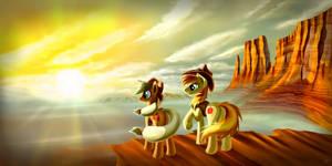 Applejack and Braeburn by Pyrestorm