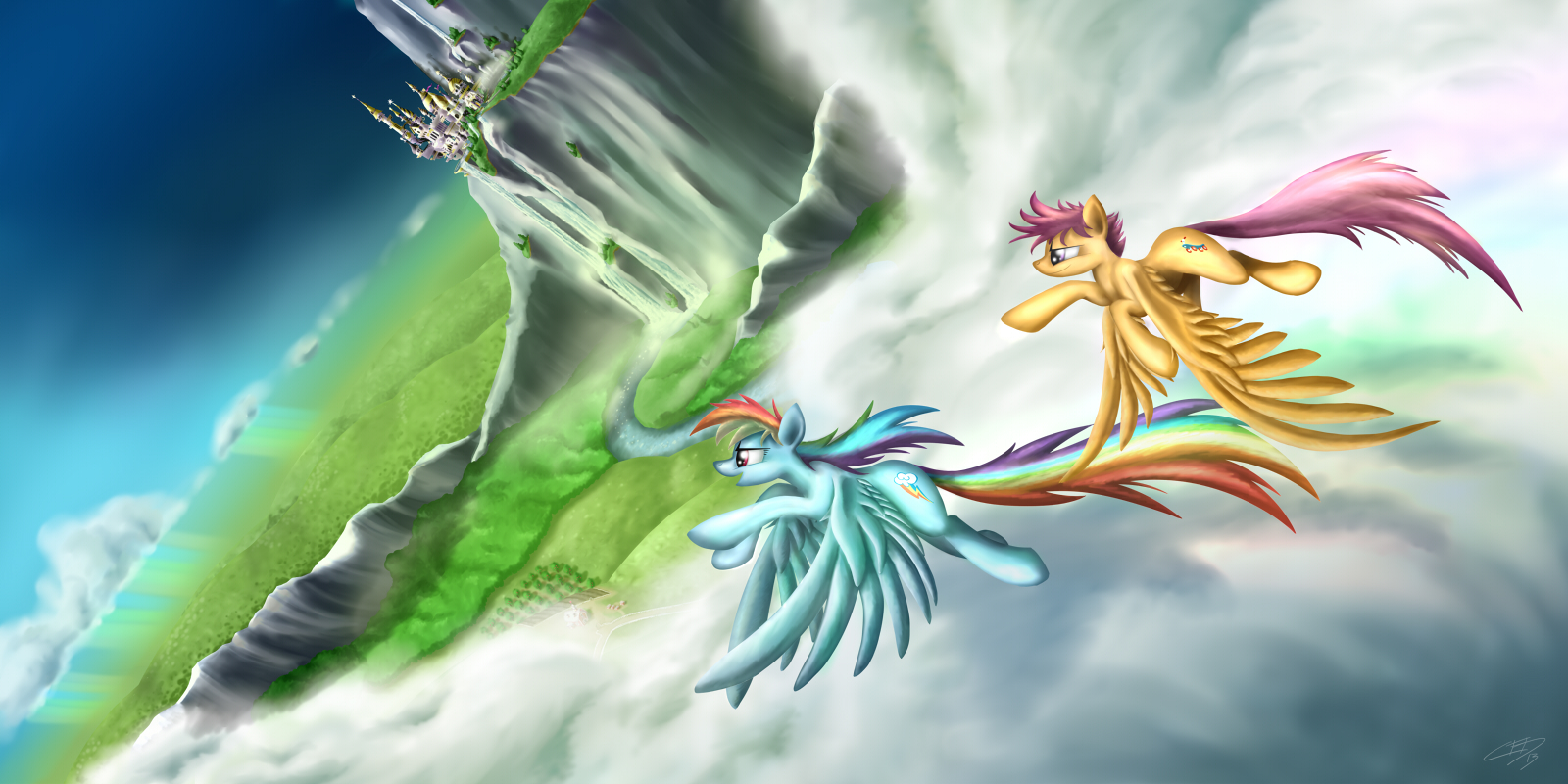 Rainbow Dash and Scootaloo by Pyrestorm