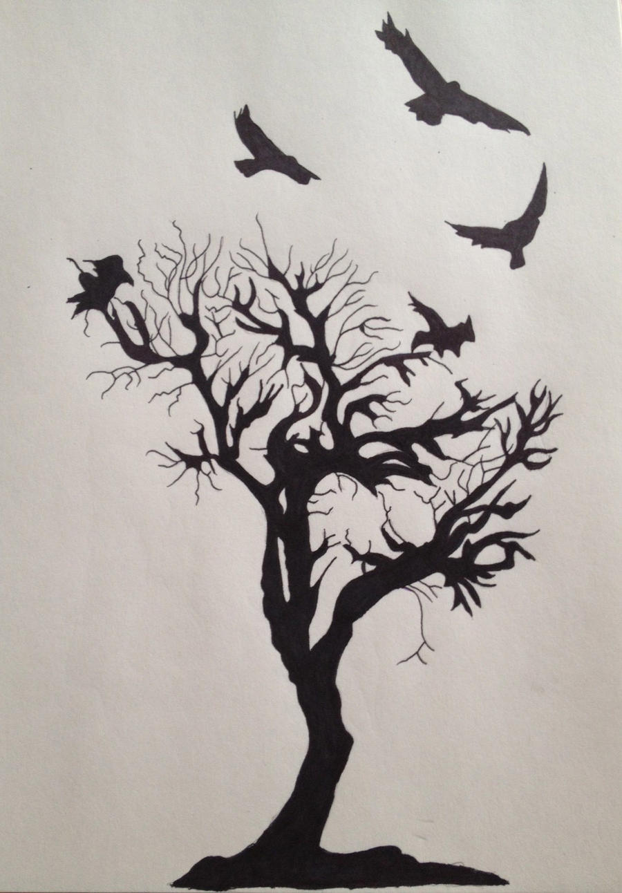 crow and tree tattoo by skinnercody on deviantart. Black Bedroom Furniture Sets. Home Design Ideas