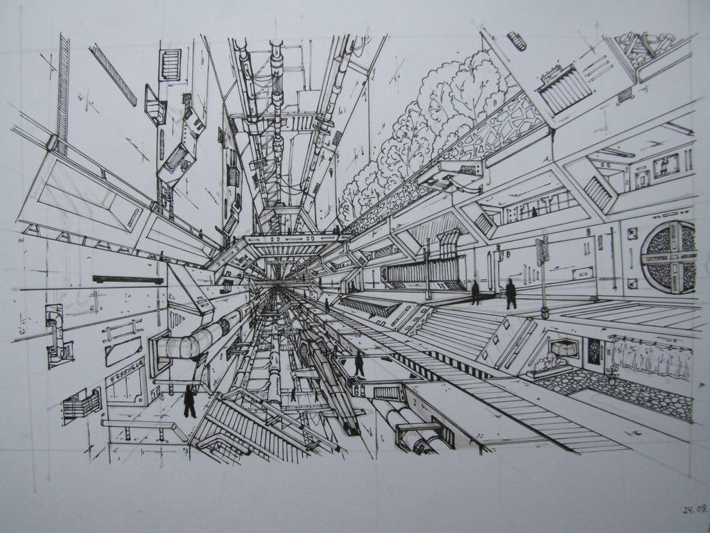 Futuristic City Drawing Drawing Futuristic City by