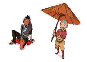 Sokka + Aang perspective sketches by ceilidhdarling