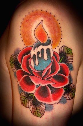 candle rose tattoo by xlennyx on deviantart. Black Bedroom Furniture Sets. Home Design Ideas