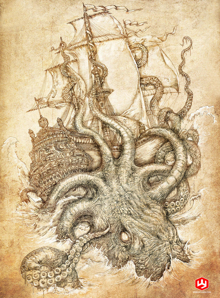 Octopus Shipwreck Drawing kraken unleashe...