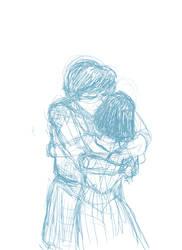 Jamie and Zoe Hug (blue pencil version)