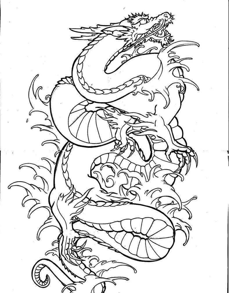 Line Drawing Dragon : Dragon line by tonywave on deviantart