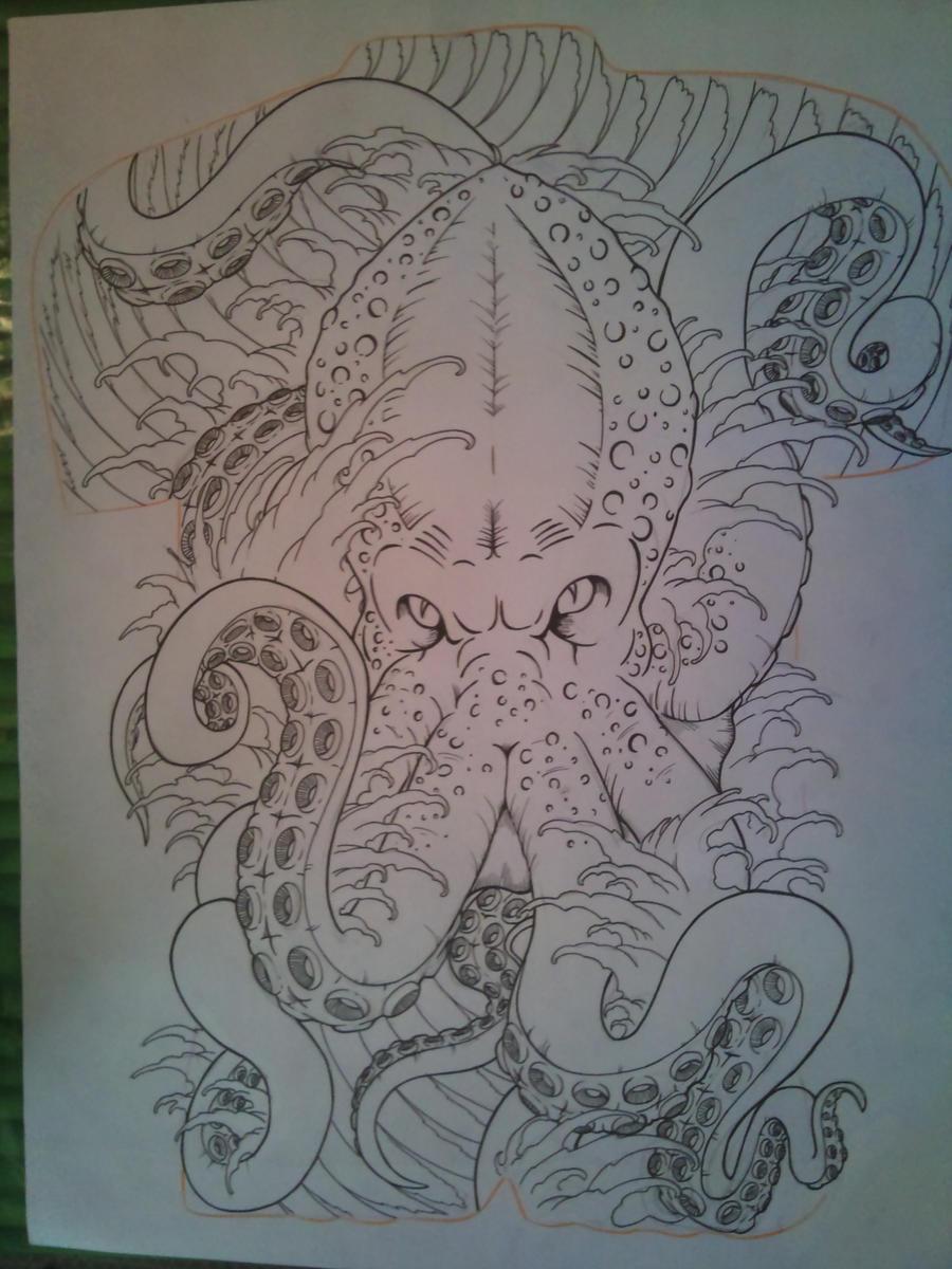 octopus back piece by tonywave33 on deviantart. Black Bedroom Furniture Sets. Home Design Ideas