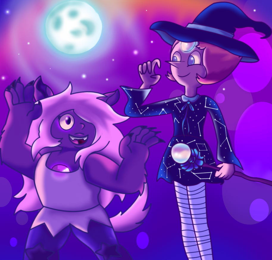 Happy Halloween!Amethyst enjoys Halloween. Her Shape-Shifting powers are put to good use this day. As for pearl, she's open to trying this ritual and embracing the night. I hope she enjoys t...