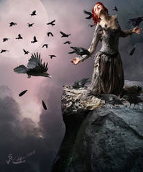 Woman And Crows by bebasv