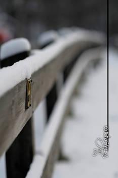 Snowy modern fence