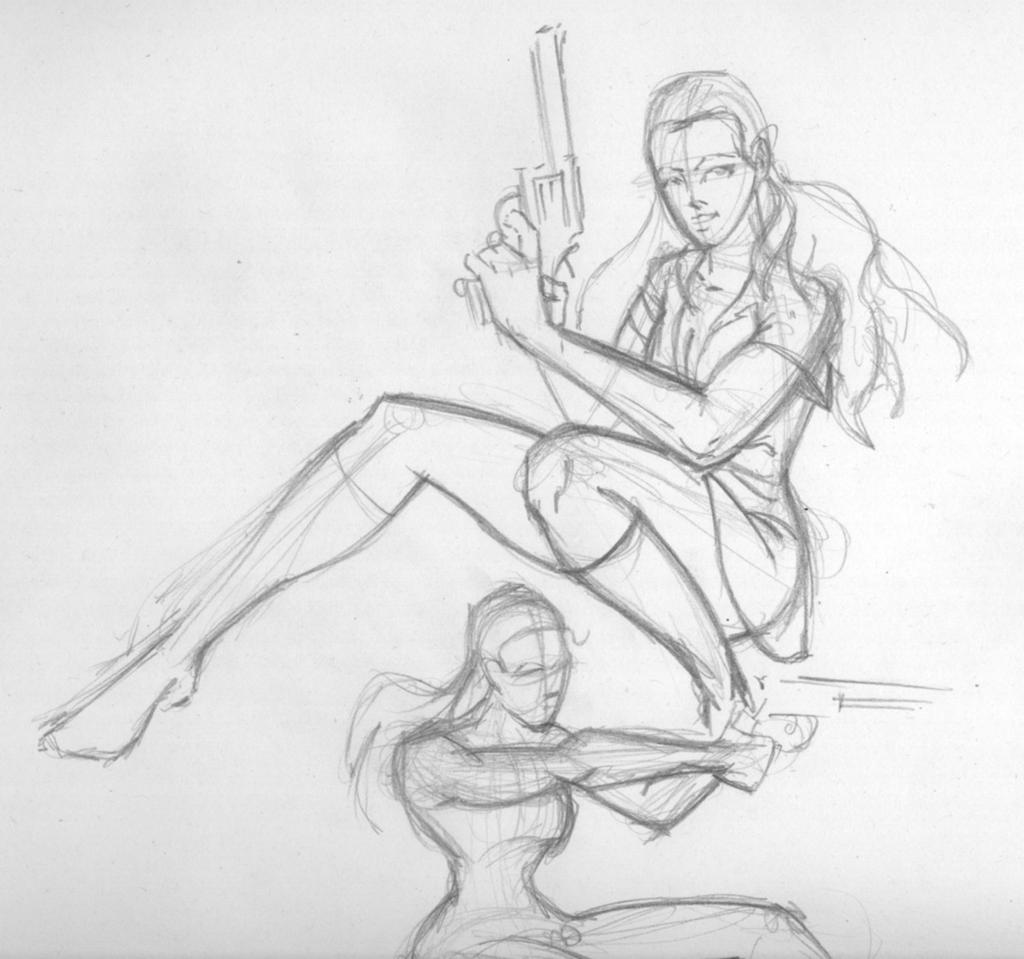 Girl gun pose Sketch by GreenBearBrummbar