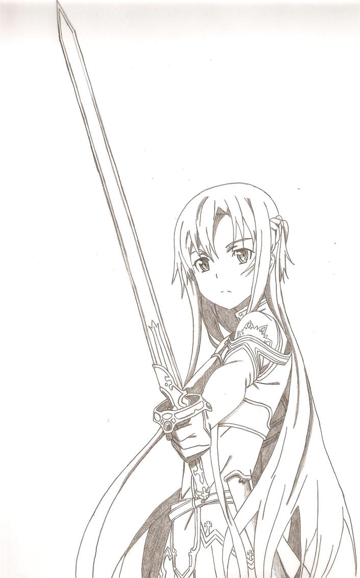 Sword art online asuna drawing sketch coloring page for Sketch it online