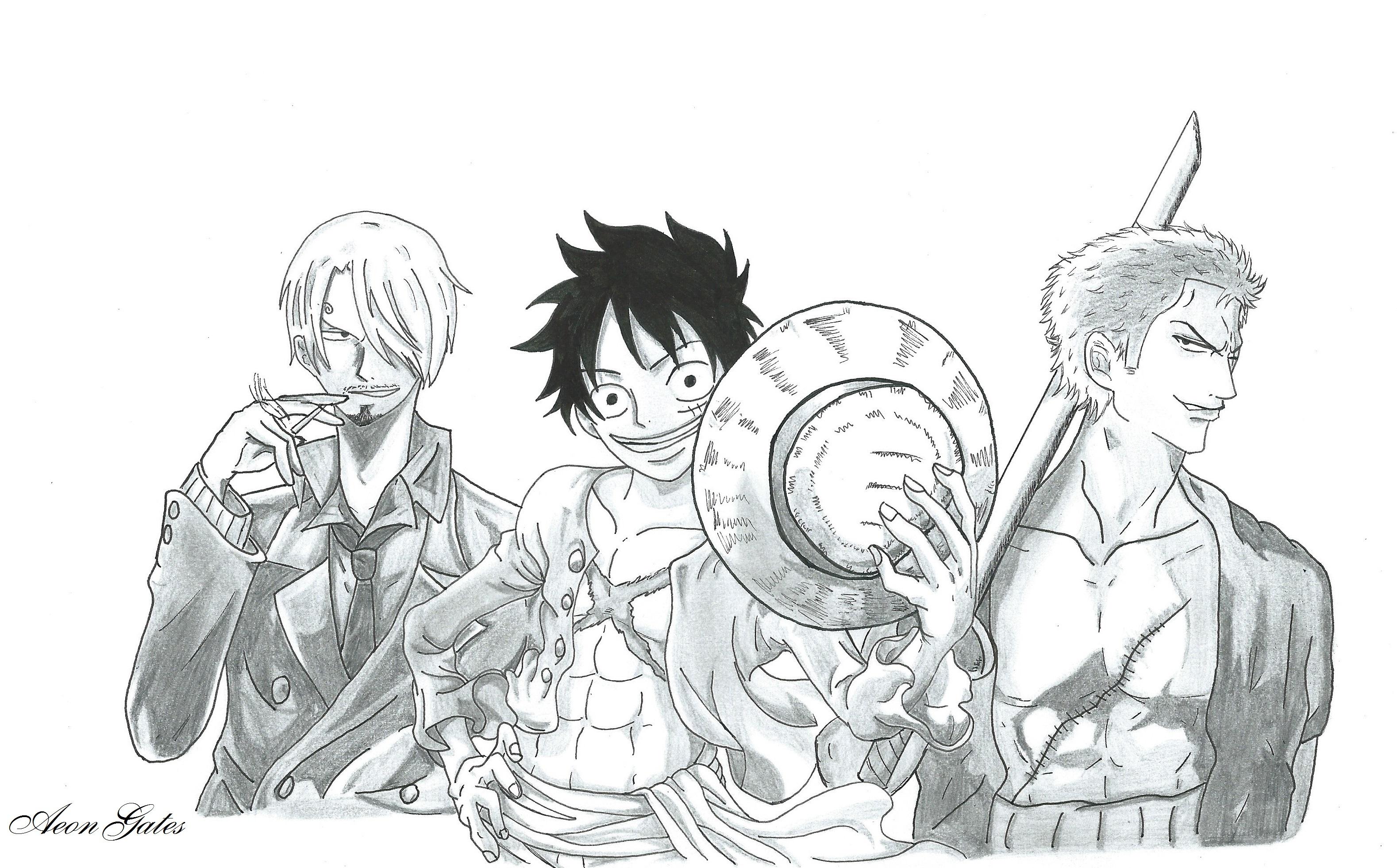 One Piece Sanji Luffy And Zoro By Aeongates On Deviantart