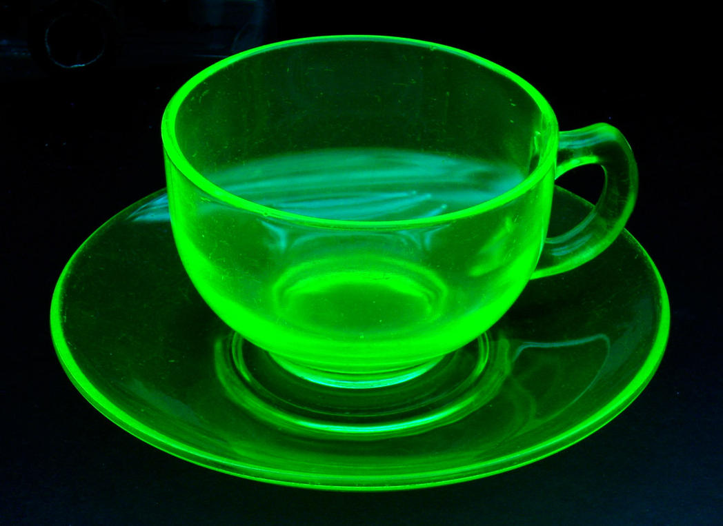 Uranium glass cup and saucer by Nathan6022 on DeviantArt