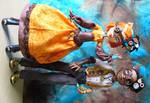 Monster High customs - Steampunk Toralei and Clawd