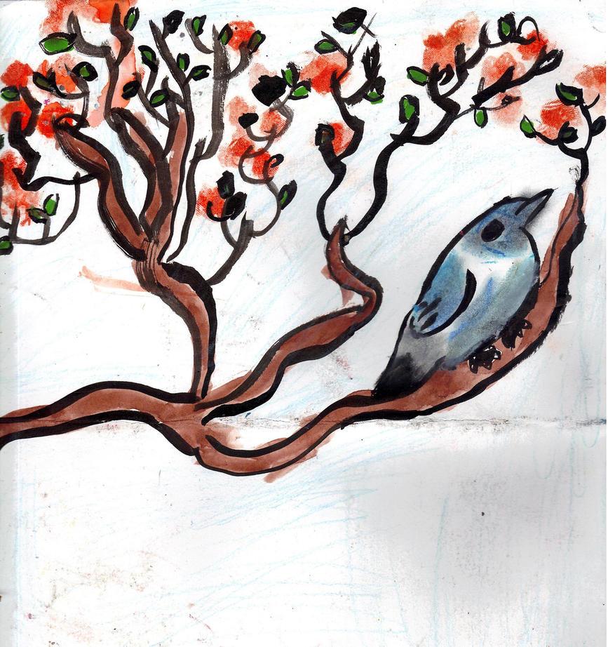 Warbler and Orange Blossoms by AkaiChounokoe