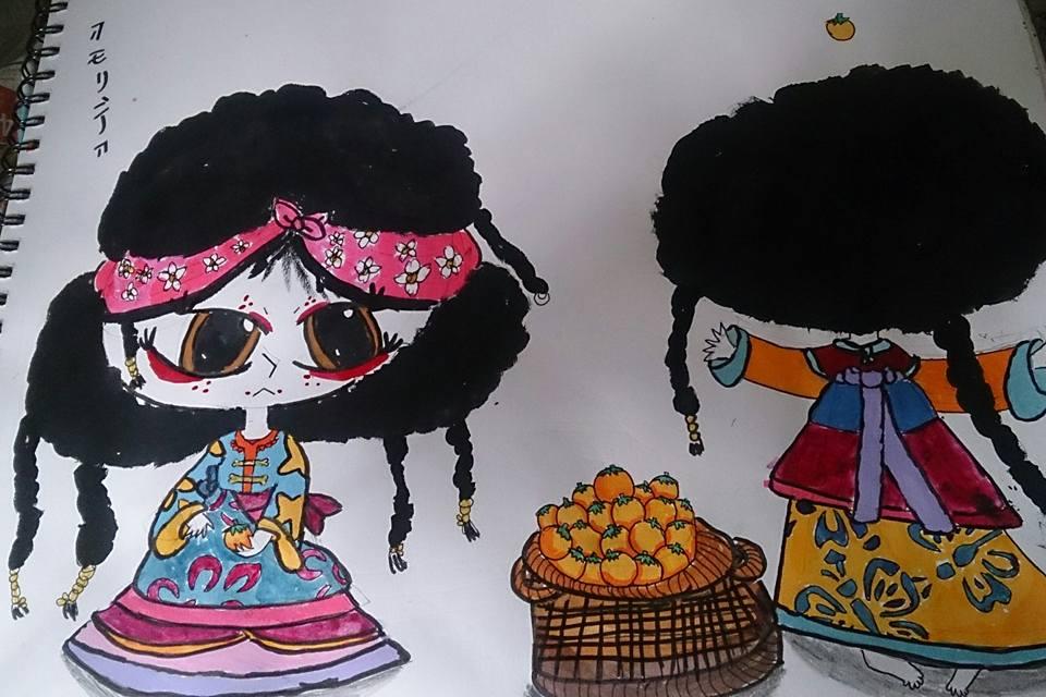 Girls and Persimmons by AkaiChounokoe