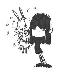 Lucy Loud hugging Courage by Aartistboy714