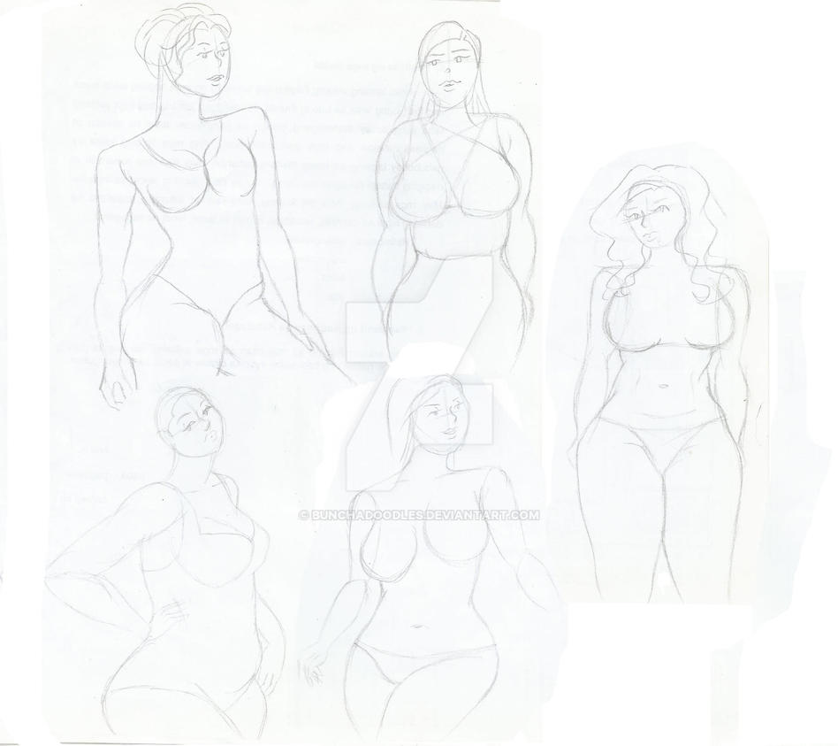 Nude Female Sketches/Skimpy Females by bunchadoodles