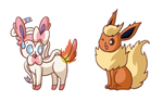 Commission - playful Sylveon and Flareon