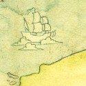 Carte de l'univers de Contes avec ses trois grandes citées : Havre, Delta et Orme ! Elle a été dessinée l'année dernière pour l'artbook BD et Paillettes