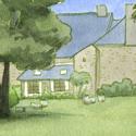 Pour le défi jardins ! Le petit parc de la maison de famille d'une amie en Bretagne. (pour son grand-père, son dessin du projet Contes sur Ulule)