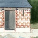 Le pigeonnier fait maison de la ferme d'amis de famille (leur dessin pour l'ulule de Contes)