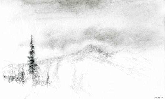 mountains, sketch